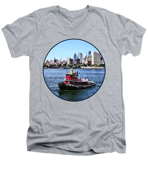 Philadelphia Pa - Tugboat By Philadelphia Skyline Men's V-Neck T-Shirt by Susan Savad