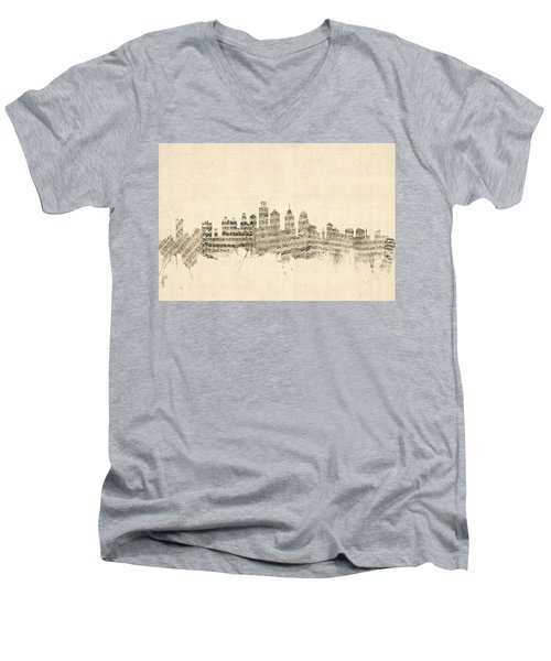 Philadelphia Pennsylvania Skyline Sheet Music Cityscape Men's V-Neck T-Shirt