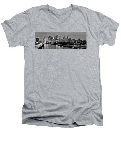 Philadelphia Philly Skyline At Dusk From Near South Bw Black And White Panorama Men's V-Neck T-Shirt by Jon Holiday