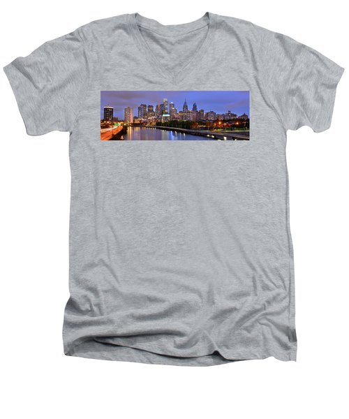 Men's V-Neck T-Shirt featuring the photograph Philadelphia Philly Skyline At Dusk From Near South Color Panorama by Jon Holiday