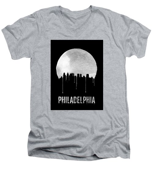 Philadelphia Skyline Black Men's V-Neck T-Shirt