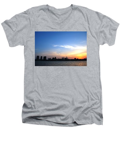 Philadelphia Skyline Low Horizon Sunset Men's V-Neck T-Shirt