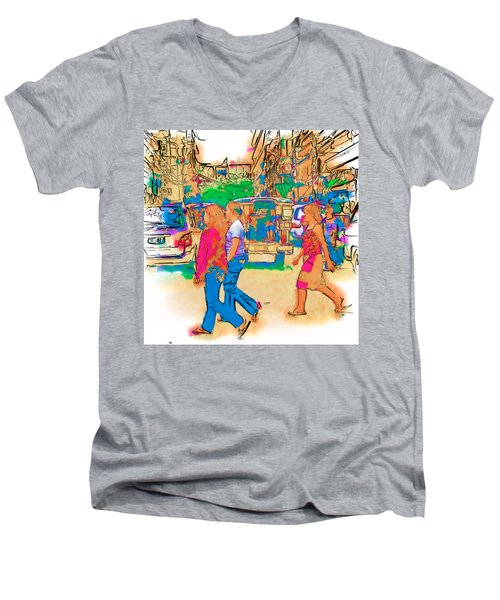 Philippine Girls Crossing Street Men's V-Neck T-Shirt