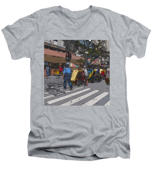 Philippines 906 Crosswalk Men's V-Neck T-Shirt