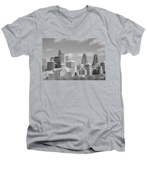 Philly Skyscrapers Black And White Men's V-Neck T-Shirt