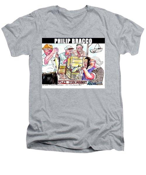Phil's Fish Market Men's V-Neck T-Shirt by Philip Bracco