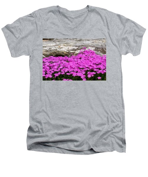 Men's V-Neck T-Shirt featuring the digital art Phlox by Barbara S Nickerson