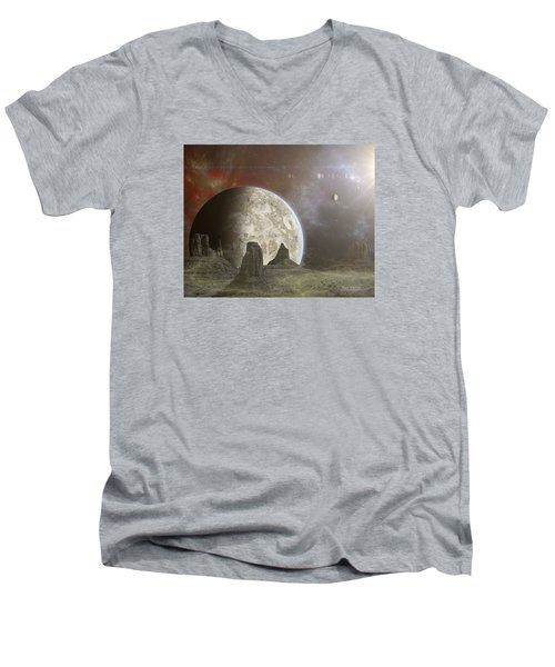 Men's V-Neck T-Shirt featuring the photograph Phobos by Mark Allen