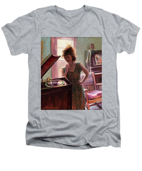 Men's V-Neck T-Shirt featuring the painting Phonograph Days by Steve Henderson