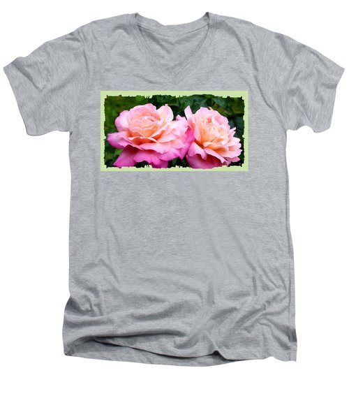 Men's V-Neck T-Shirt featuring the photograph Photogenic Peace Roses by Will Borden