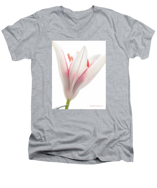 Men's V-Neck T-Shirt featuring the photograph Photograph Of A Pale Lily Opening II by David Perry Lawrence