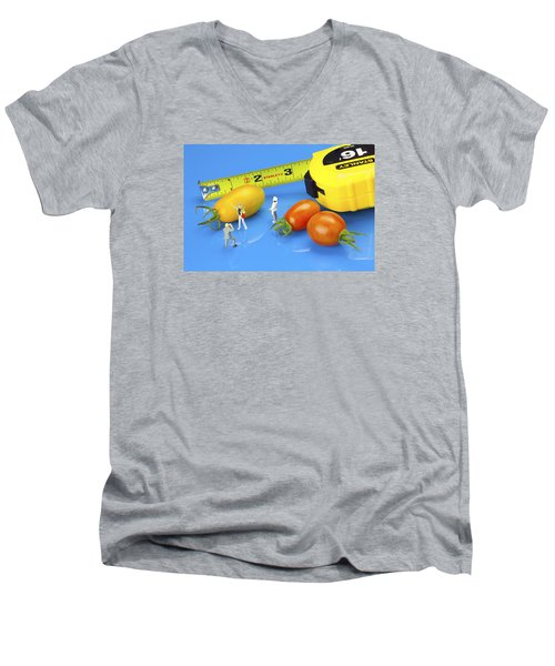 Men's V-Neck T-Shirt featuring the photograph Photography Of Tomatoes Little People On Food by Paul Ge