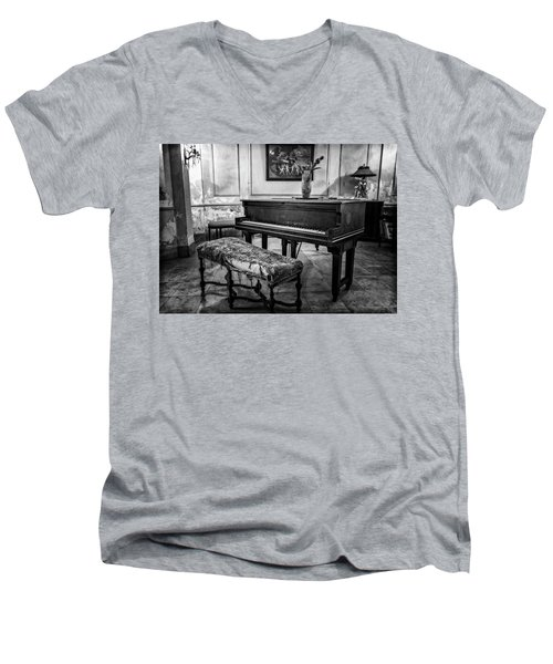 Men's V-Neck T-Shirt featuring the photograph Piano At Josie's House Bw by Joan Carroll