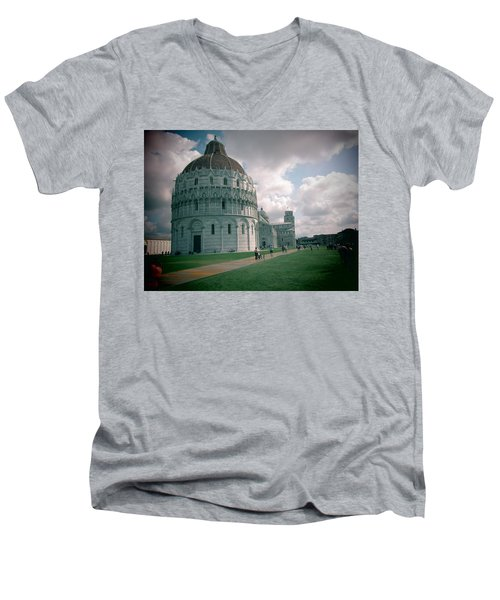 Men's V-Neck T-Shirt featuring the photograph Piazza In Piza by Christin Brodie