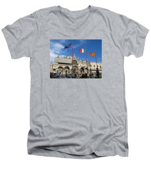 Piazza San Marco Venice Men's V-Neck T-Shirt by Lisa Boyd