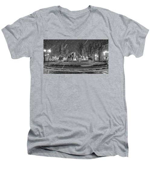 Men's V-Neck T-Shirt featuring the photograph Piazza Solferino In Winter-1 by Sonny Marcyan