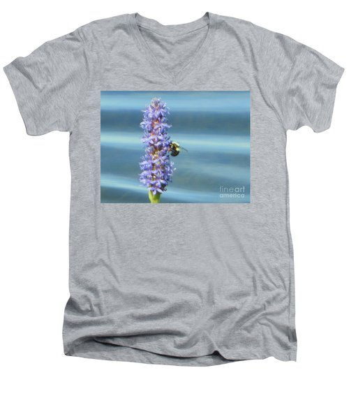 Men's V-Neck T-Shirt featuring the photograph Pickerelweed Bumble Bee by Rockin Docks Deluxephotos