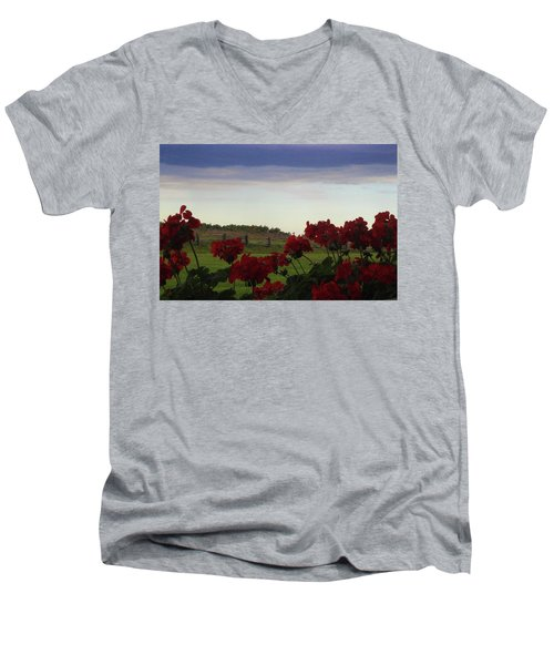 Picket Fence, Flowers And Storms Men's V-Neck T-Shirt