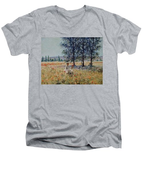Picking Flowers  Men's V-Neck T-Shirt