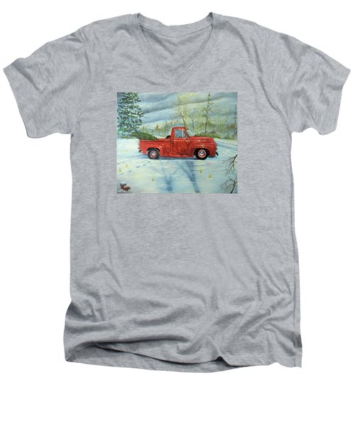 Picking Up The Christmas Tree Men's V-Neck T-Shirt