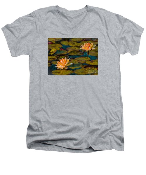 Men's V-Neck T-Shirt featuring the photograph Picnic By The Pond by John  Kolenberg