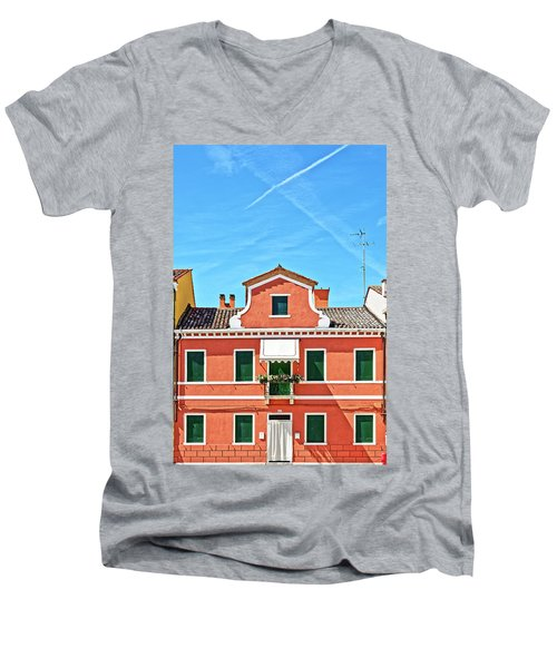 Picturesque House In Burano Men's V-Neck T-Shirt