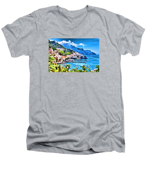 Picturesque Italy Series - Amalfi Men's V-Neck T-Shirt by Lanjee Chee