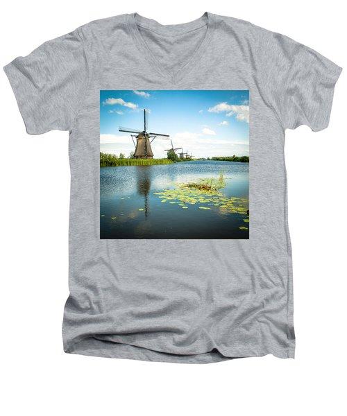 Men's V-Neck T-Shirt featuring the photograph Picturesque Kinderdijk by Hannes Cmarits