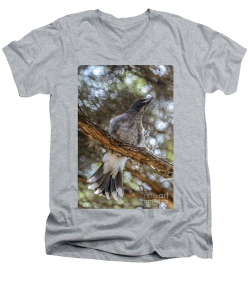 Pied Currawong Chick 1 Men's V-Neck T-Shirt