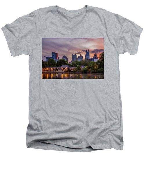 Men's V-Neck T-Shirt featuring the photograph Piedmont Park Midtown Atlanta Sunset Art by Reid Callaway