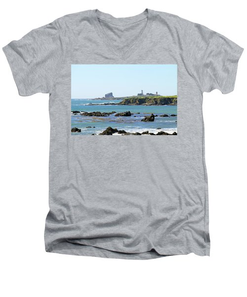 Men's V-Neck T-Shirt featuring the photograph Piedras Blancas Lighthouse by Art Block Collections