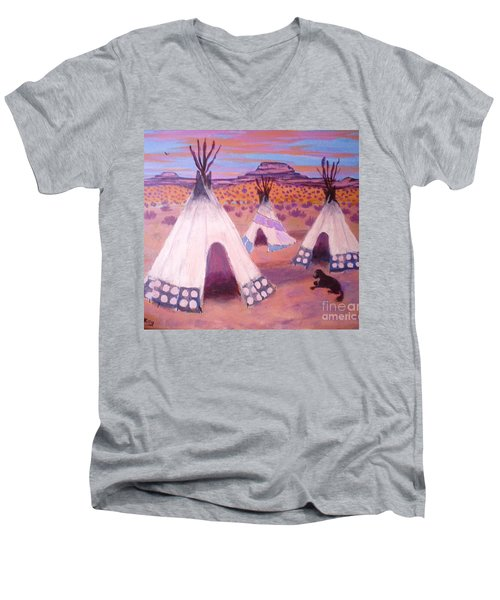 Piegan Indian Tipis Men's V-Neck T-Shirt