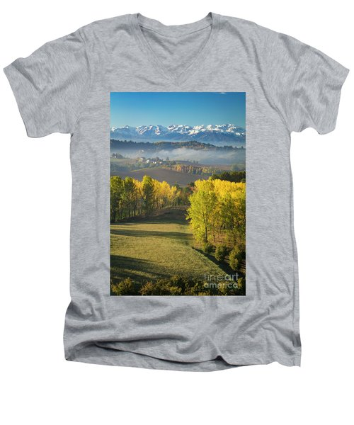 Men's V-Neck T-Shirt featuring the photograph Piemonte Morning by Brian Jannsen