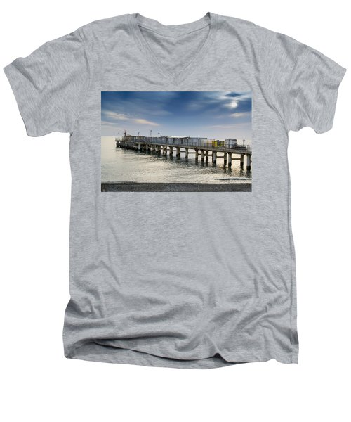 Men's V-Neck T-Shirt featuring the photograph Pier At Sunset by John Williams