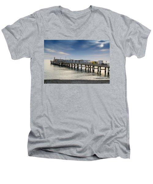 Pier At Sunset Men's V-Neck T-Shirt
