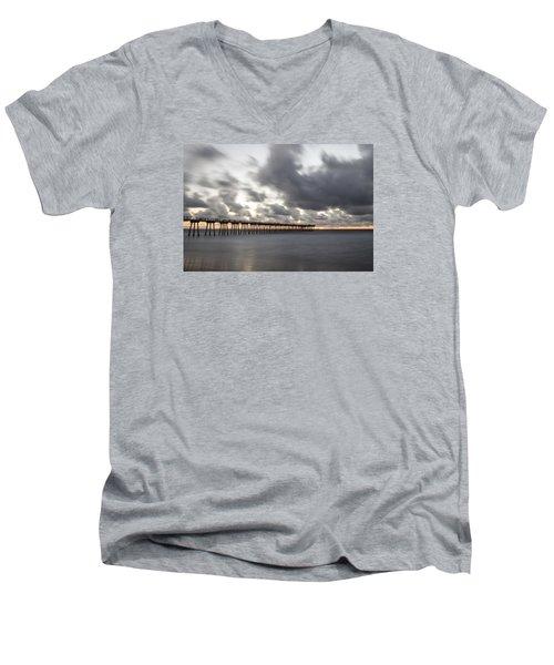 Pier In Misty Waters Men's V-Neck T-Shirt by Ed Clark