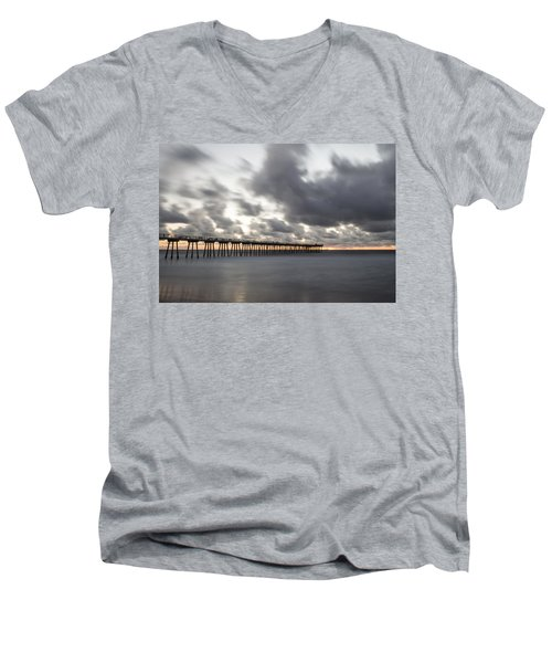 Pier In Misty Waters Men's V-Neck T-Shirt