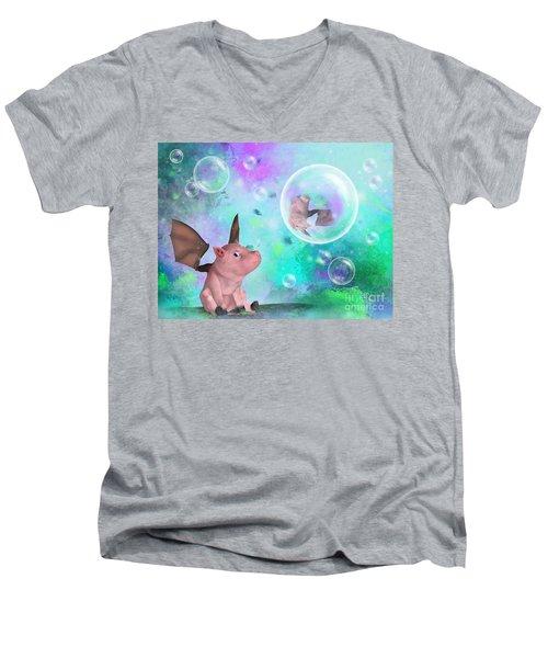 Pig In A Bubble Men's V-Neck T-Shirt