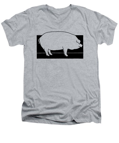 Men's V-Neck T-Shirt featuring the drawing Pig - T Shirt Pig by rd Erickson