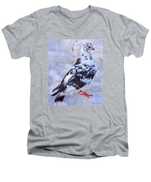 Men's V-Neck T-Shirt featuring the photograph Pigeon On Ice  1 by John Selmer Sr