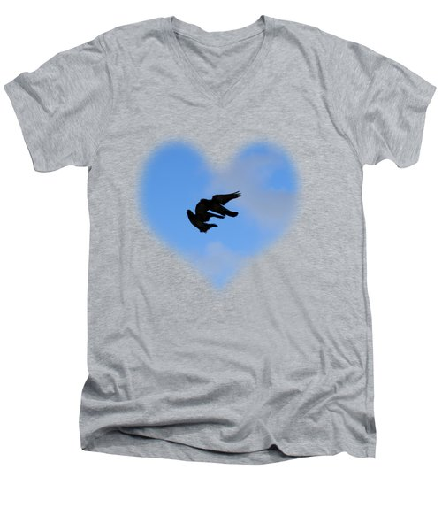Pigeons Shadow T-shirt Men's V-Neck T-Shirt by Isam Awad