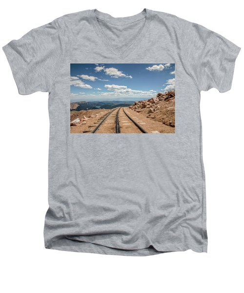 Men's V-Neck T-Shirt featuring the photograph Pikes Peak Cog Railway Track At 14,110 Feet by Peter Ciro