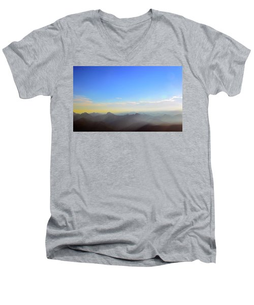 Pilchuck And Three Sisters Sunrise Men's V-Neck T-Shirt