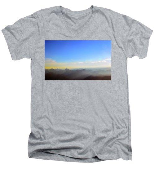 Pilchuck And Three Sisters Sunrise Men's V-Neck T-Shirt