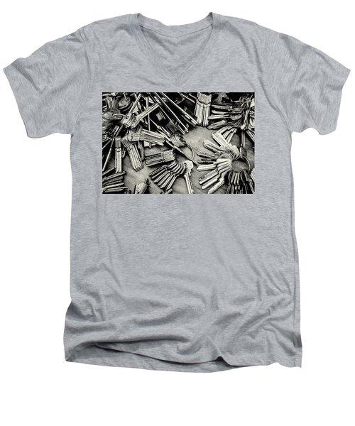 Piles Of Blank Keys In Monochrome Men's V-Neck T-Shirt