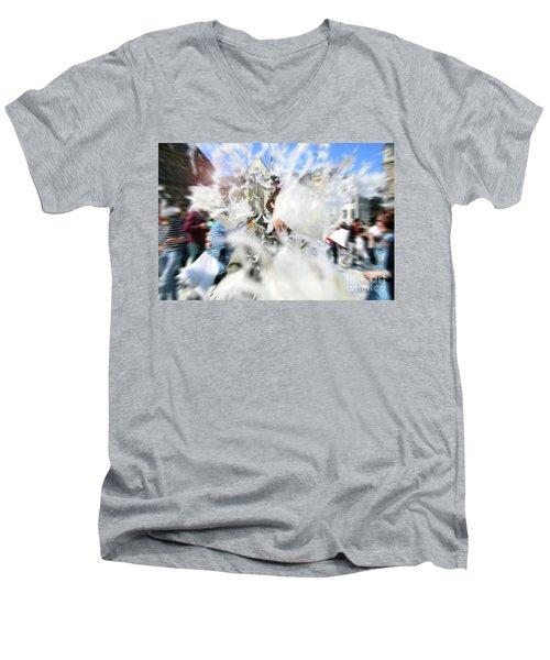 Pillow Fight Men's V-Neck T-Shirt by Ana Mireles