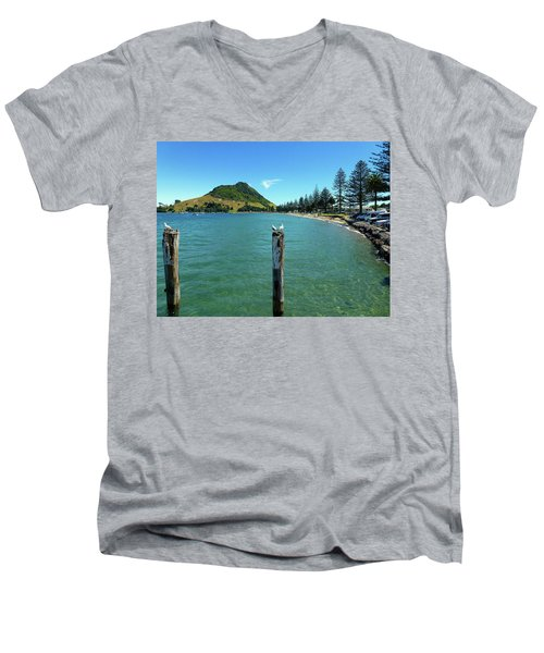 Pilot Bay Beach 1 - Mt Maunganui Tauranga New Zealand Men's V-Neck T-Shirt by Selena Boron