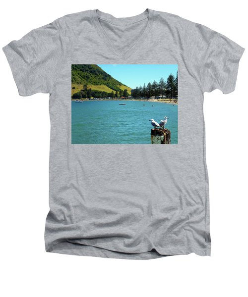 Pilot Bay Beach 5 - Mt Maunganui Tauranga New Zealand Men's V-Neck T-Shirt by Selena Boron