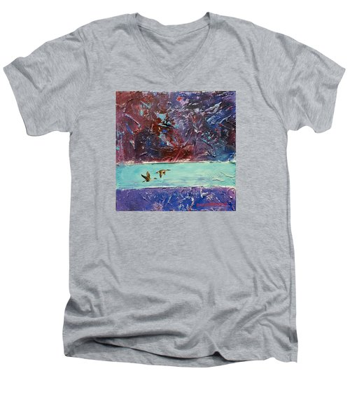 Men's V-Neck T-Shirt featuring the painting Pin Tails by David  Maynard