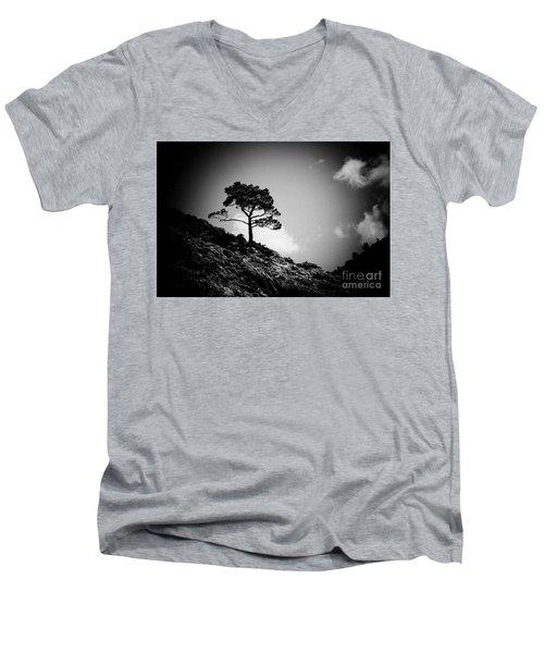 Pine At Sky Background Artmif.lv Men's V-Neck T-Shirt
